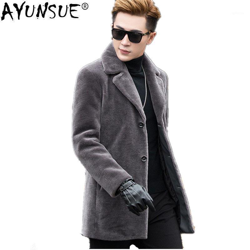 Ayunsue 100% lã casaco de pele jaqueta de inverno homens homens naturais carneiros shearling pele casaco de pele gesso além de tamanho casaco longo aw9939 my7581