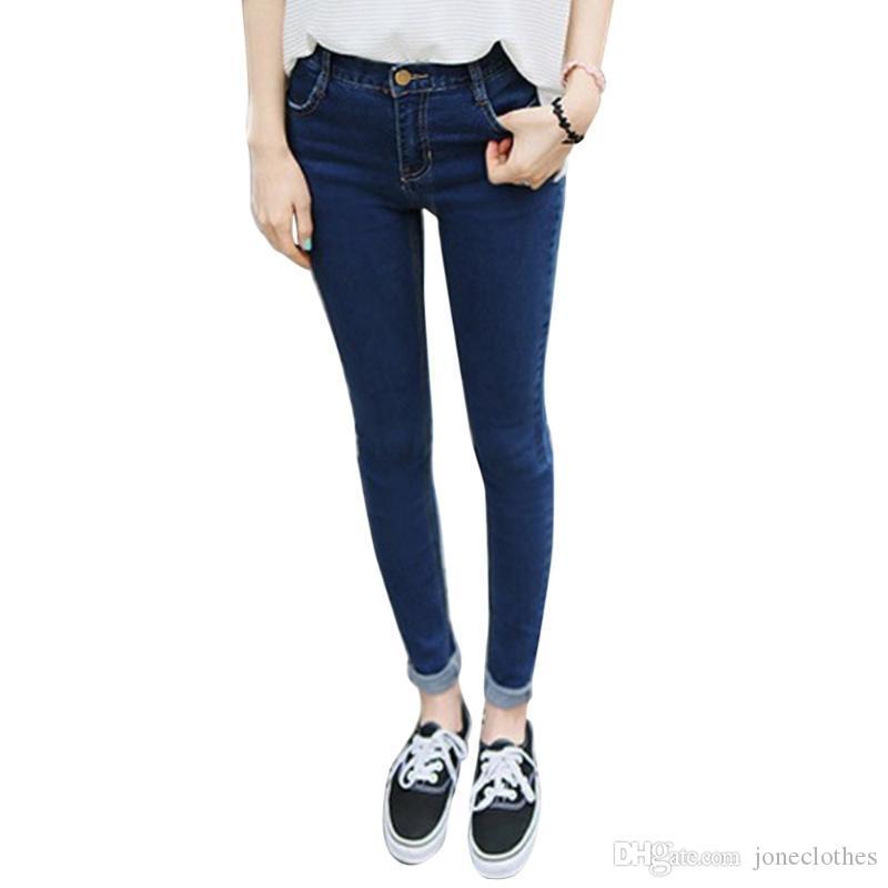 Femmes filles Taille haute Denim Jeans Pantalons Pantalon Skinny Skinny Pantalon Plus Taille XS-XXXL Hot