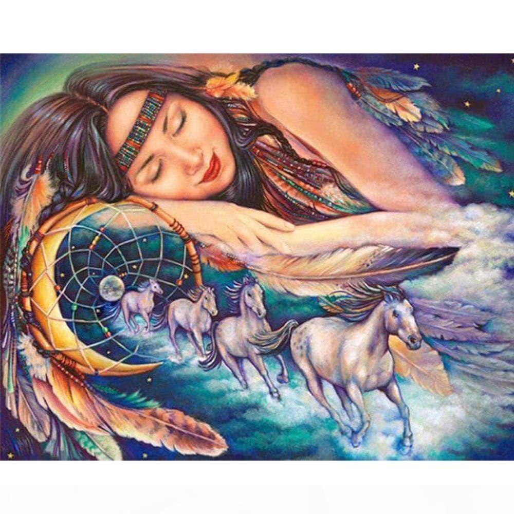 Diamond Painting Sleeping Beauty Wind Thime Full Square Diamond Diamond Bording Correr Horse Cross Stitch Mosaic Home Decoration Kit