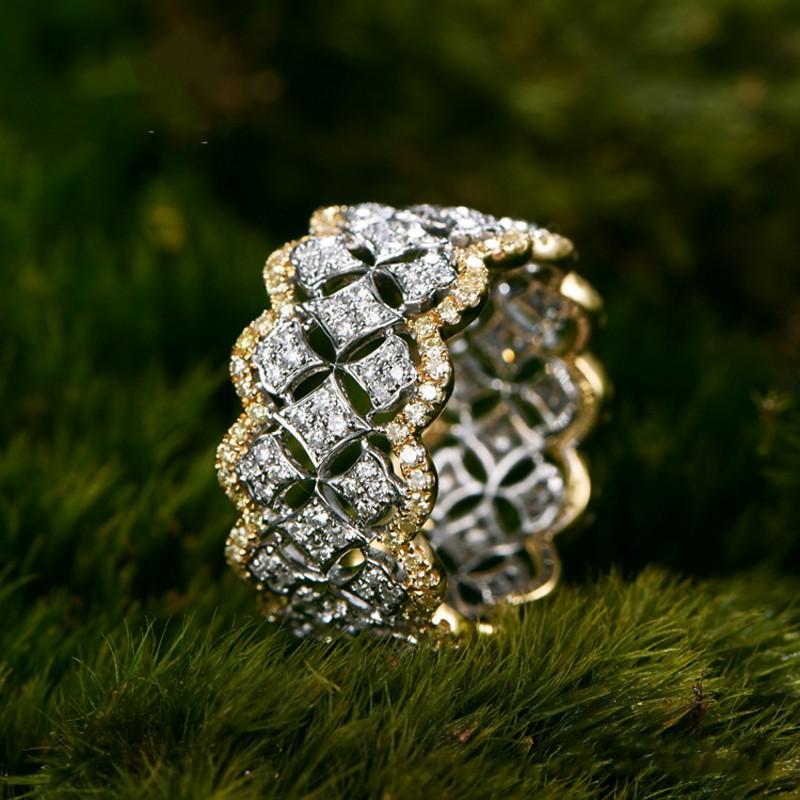 Kadınlar İçin 18k Rose Gold açacağı Elmas Yüzük 925 Gümüş Bijou Nişan Alyans Yüzük