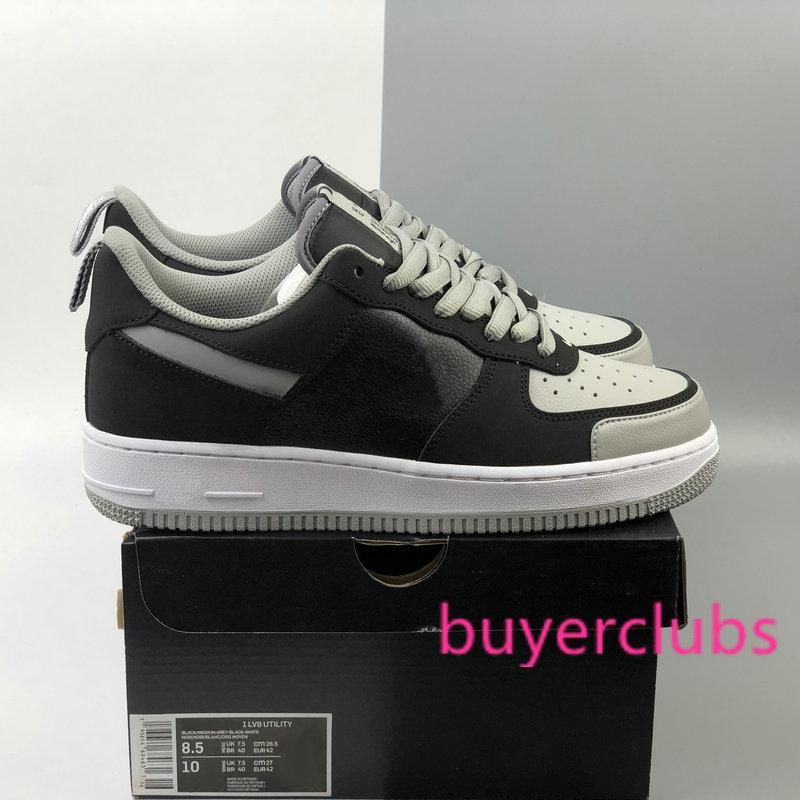 2020 Nouveau 1 LV8 UTILITAIRES Ombre Gris Noir Hommes Femmes Chaussures de course réfléchissantes de sport de planche à roulettes un dunk Chaussures Sneakers Baskets