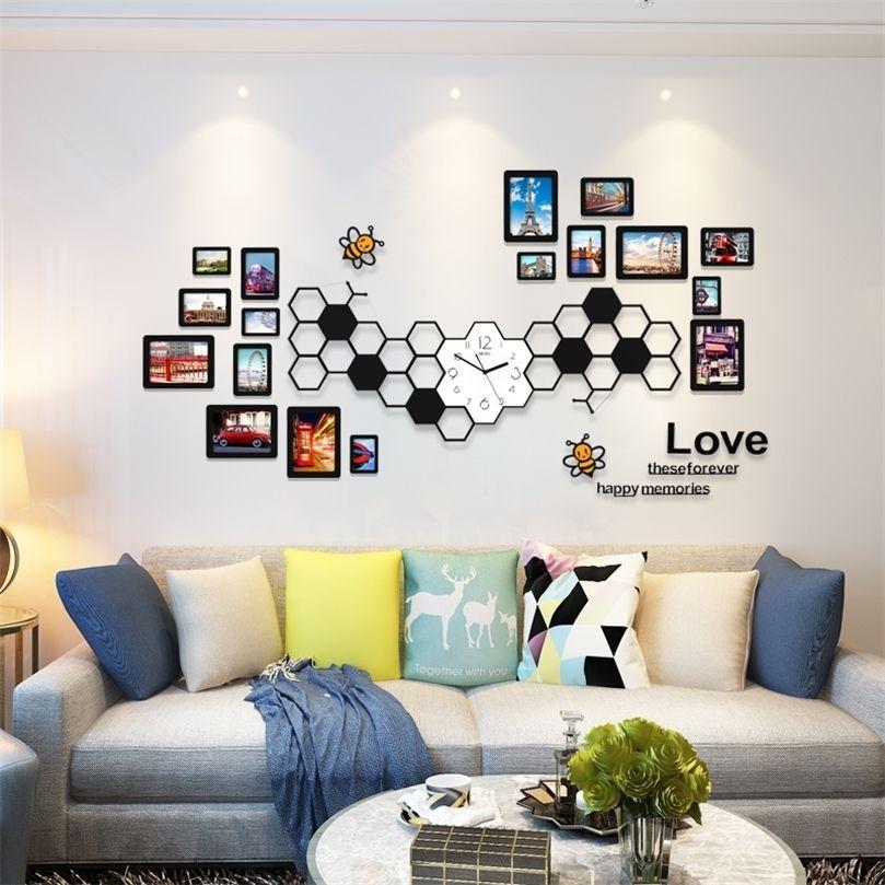 Moda Acrílico DIY Photo Frames 91218 PCs / Definir decoração moderna adesivos de parede para casa decoração sala de estar frete grátis 201212