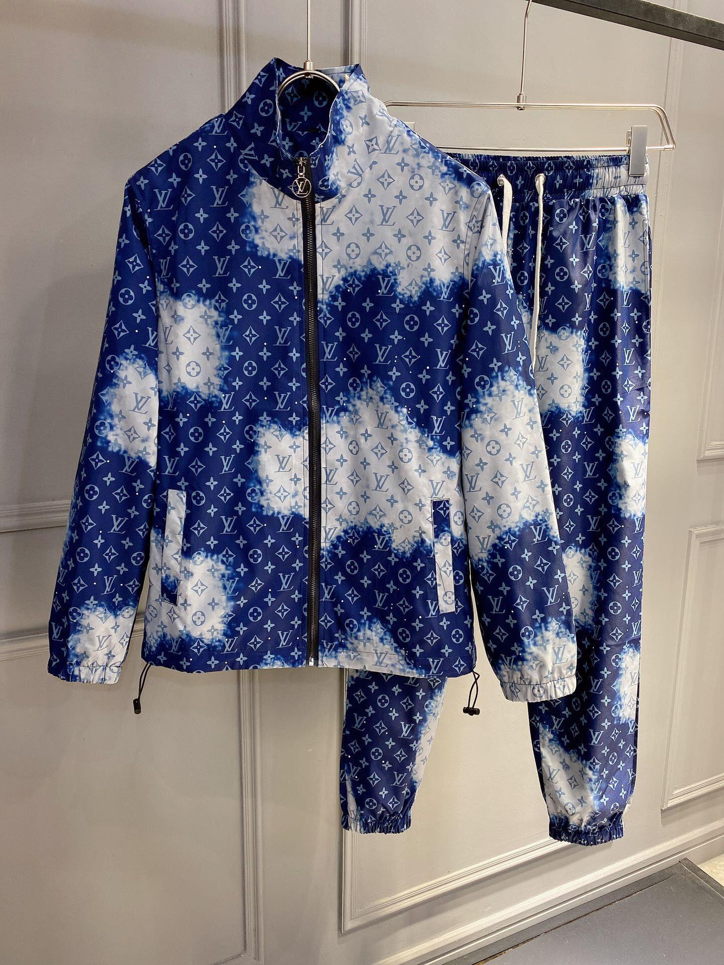 2020 blau Mensentwerfer Trainingsanzüge gesetzt (Designer-Jacke + pants) Herren Trainingsanzug hochwertige Buchstabedruckes camo Luxus Manntrainingsnazug