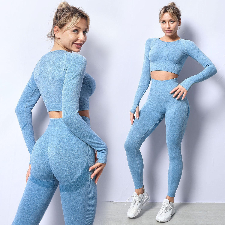 Moda Tasarımcısı Bayan Pamuk Yoga Takım Gymshark Spor Giyim Eşofman Fitness 2 Parça Set 2 adet Sutyen Tayt Kıyafetler Kıyafetler Gym Woman Giysiler