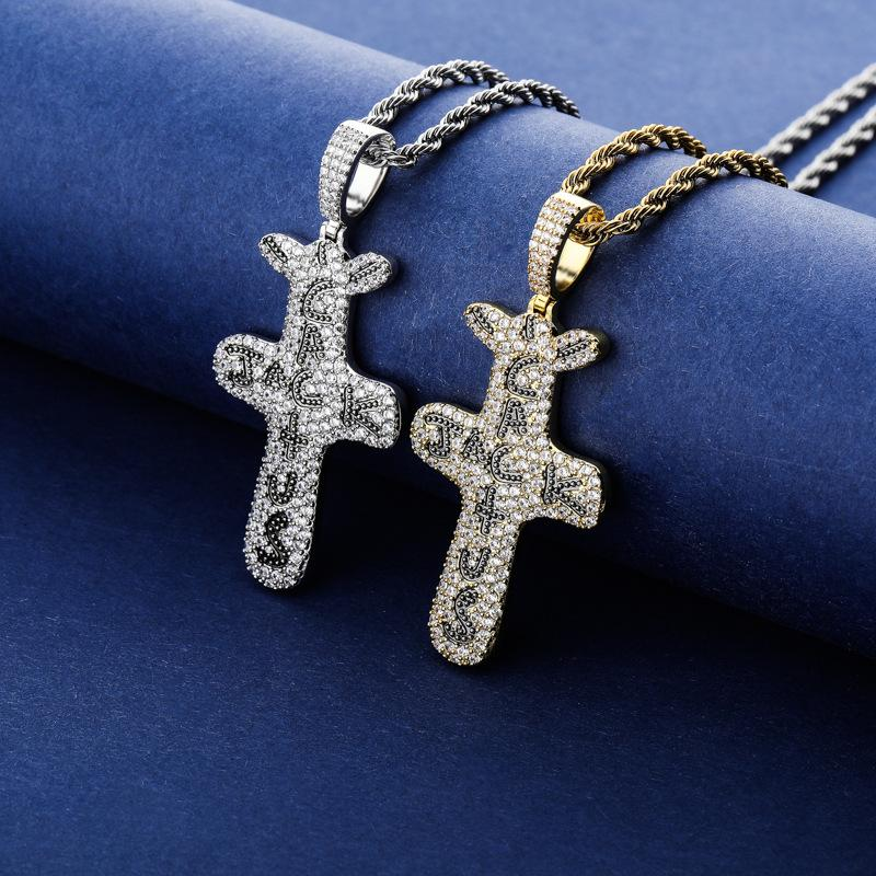 Micro Gepflasterte Zirkonia Bling gefrieren heraus Cactus Jack Anhänger Halsketten für Männer Frauen Hip Hop Rapper Halskette