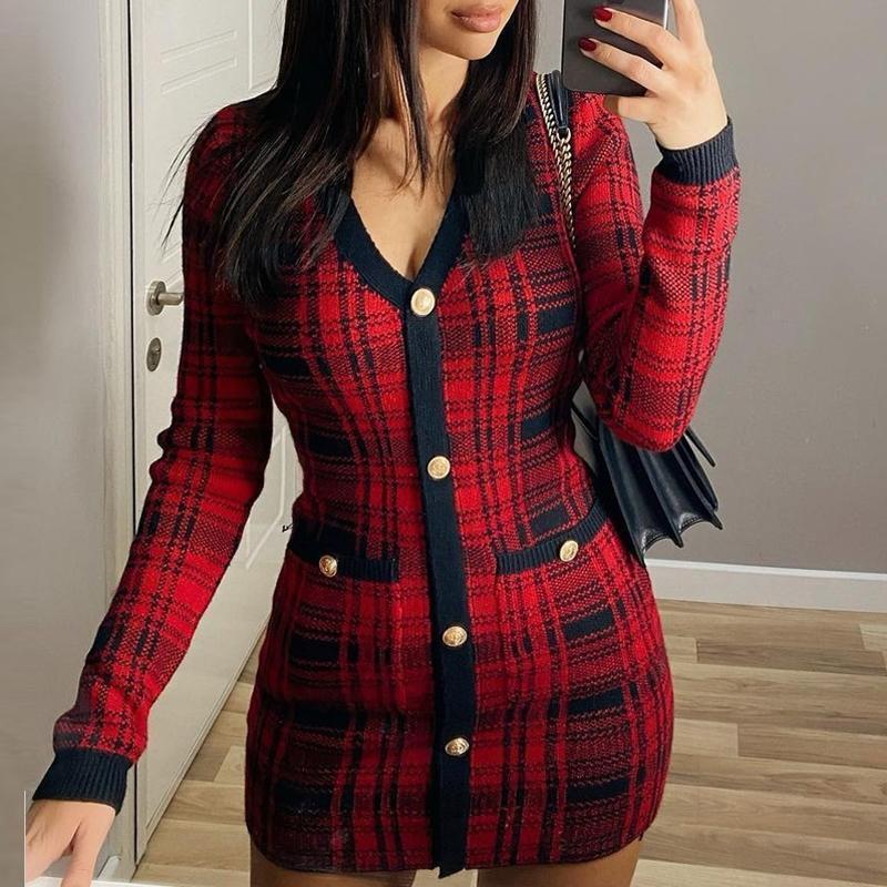 Mulheres vermelhas xadrez impresso botões v-pescoço manga comprida plunge envoltório bodycon mini vestido