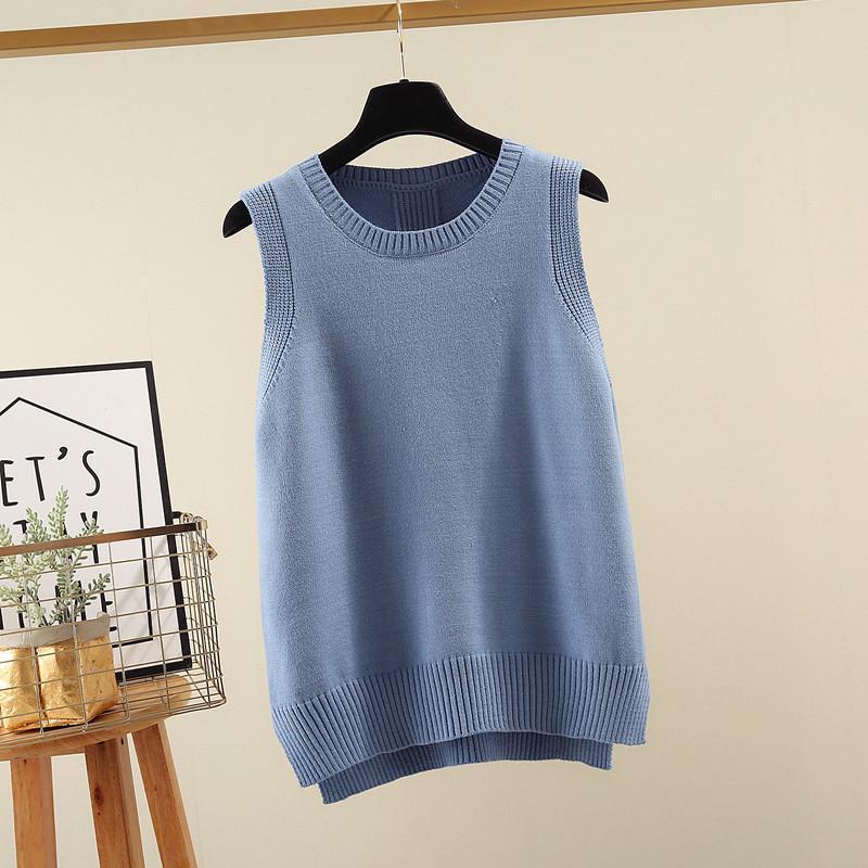 Gilets de femme Vest d'automne et d'hiver Pull tricoté à cou pour femmes pour femmes bleu beige kaki kaki coréen lâche gilet halets sans manches 2021