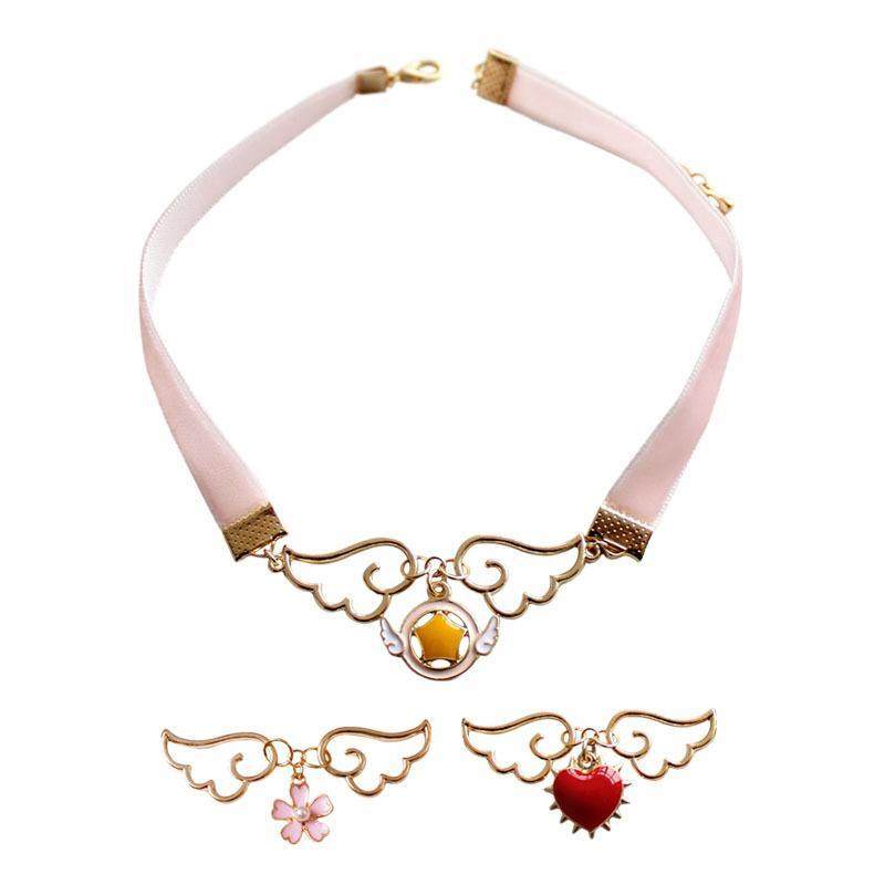 One Piece Fashion Jewelry Accesorios Cospaly Colgante Neckain Metal Enamel Angel Wing Star Heart Card Captor Sakura Collar