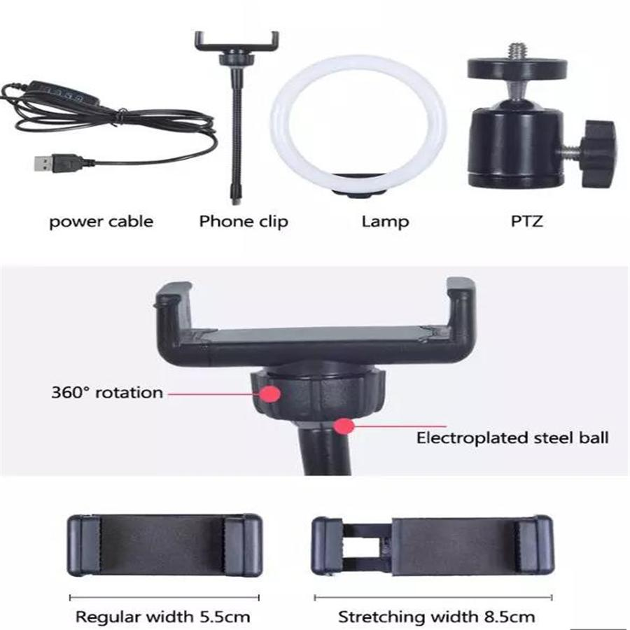 2021 top Dimmable lighting LED ring lights with phone holder selfie fill light for Tiktok YouTube Video 10inch Tripod Stand