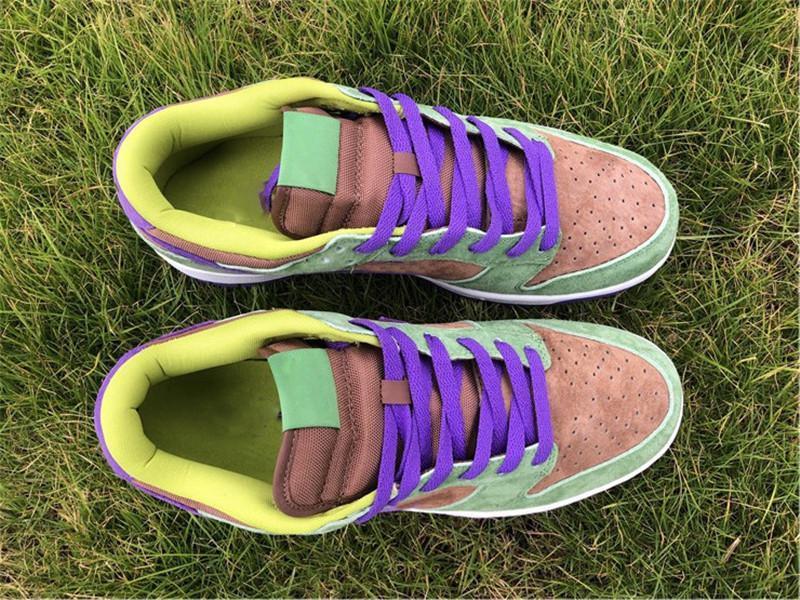2020 Аутентичных Dunk SP низкого Шпон Man кроссовки Осень Green Скейтбординг обуви Deep Purple Suede Upper мужчины кроссовки с коробкой