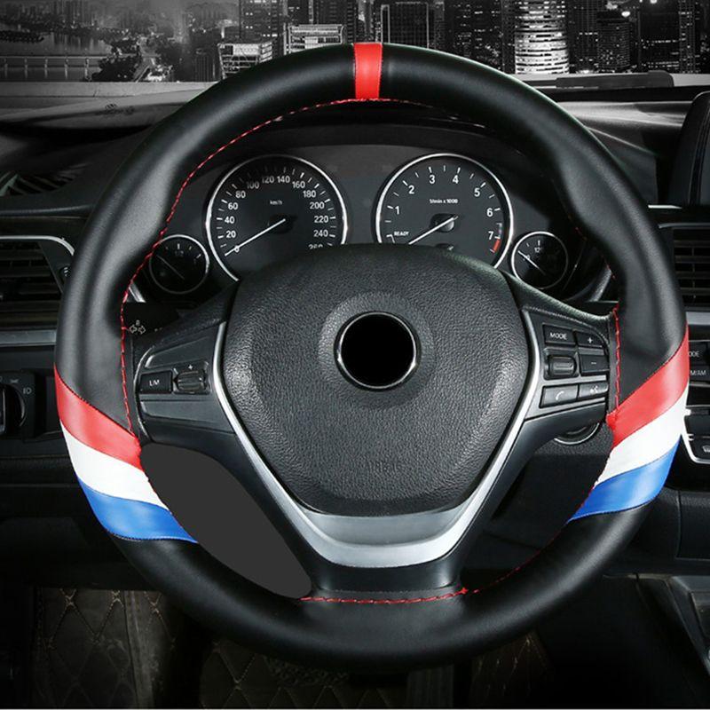 Рулевое управление Универсальный колеса автомобиля Обложка из натуральной кожи склейки Wrap кожи черного Строчка с иглой Thread Car-Styling
