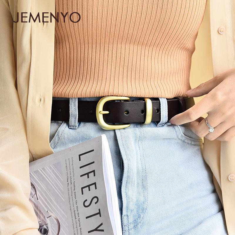 sencilla de la mujer y vaca estudiantiles de cuero negro cinturón de los pantalones vaqueros de la moda de Corea decorativos puros versátiles con las mujeres