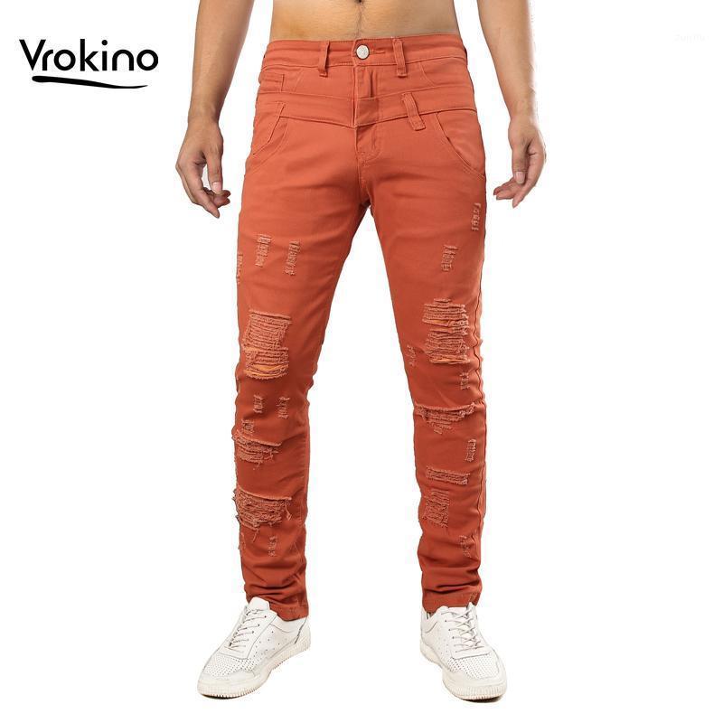 Мужские джинсы 2021 Мужчины Разорванные Моды Человек Хип Хоп Разорванные Большой Размер Оранжевый Синий ВМФ Красный Бренд Одежда 38 40 421
