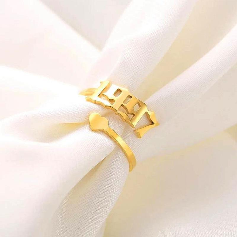 أرقام السنة خواتم الفرقة الفضة الذهب الفولاذ المقاوم للصدأ حلقة مفتوحة للنساء الرجال الأزياء والمجوهرات هدية عيد ميلاد وساندي