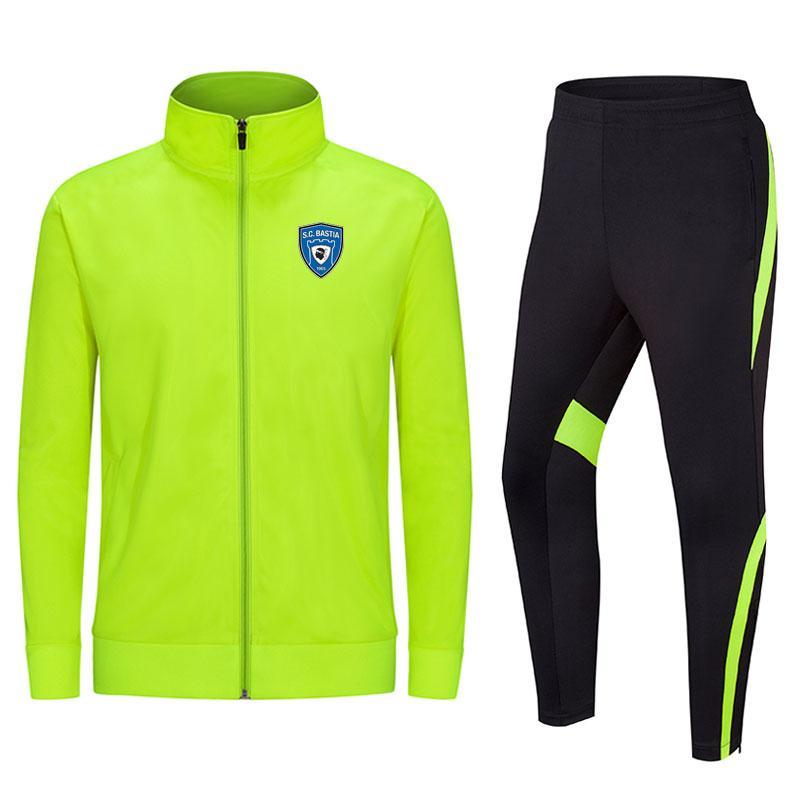 SC Bastia sezione lunga 2020 giacca calcio formazione tuta può essere personalizzato sport degli uomini fai da te di squadra in esecuzione tuta tuta