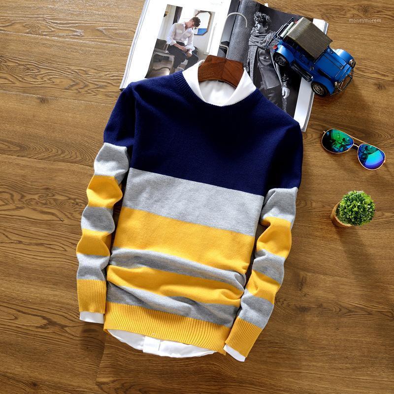 Maglioni di pullover maschili di pullover maschile di cotone di cotone sociale casual maglione a maglia a strisce all'uncinetto maschile