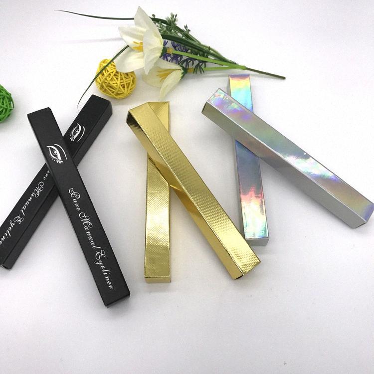 Eyeliner Gift Box 1.6 * 1.6 * 14.5cm Argent / Or / Eyeliner Noir Conditionnement papier Boîte Rouge à lèvres Pen Paquet échantillon WxGF #