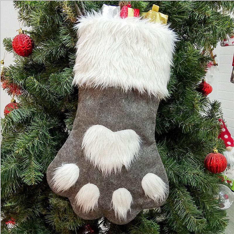 الديكور عيد الميلاد الكلب باو سوك هدية حقيبة الأحمر رمادي عيد الميلاد الجورب غير المنسوجة حقيبة كاندي شجرة عيد الميلاد زخرفة عيد الميلاد هدية EEE2619
