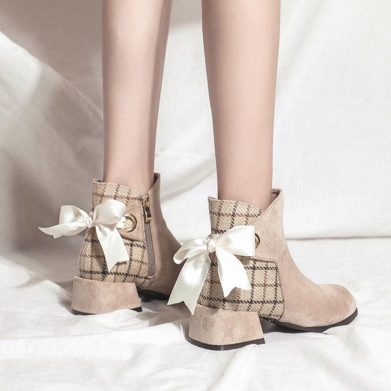 Herbst-Winter-Stiefel Damen Schmetterling-Knoten-Knöchel-Aufladungen für Frauen-starke Ferse Slip-on-Damenschuhe Bota Feminina Botas Mujer