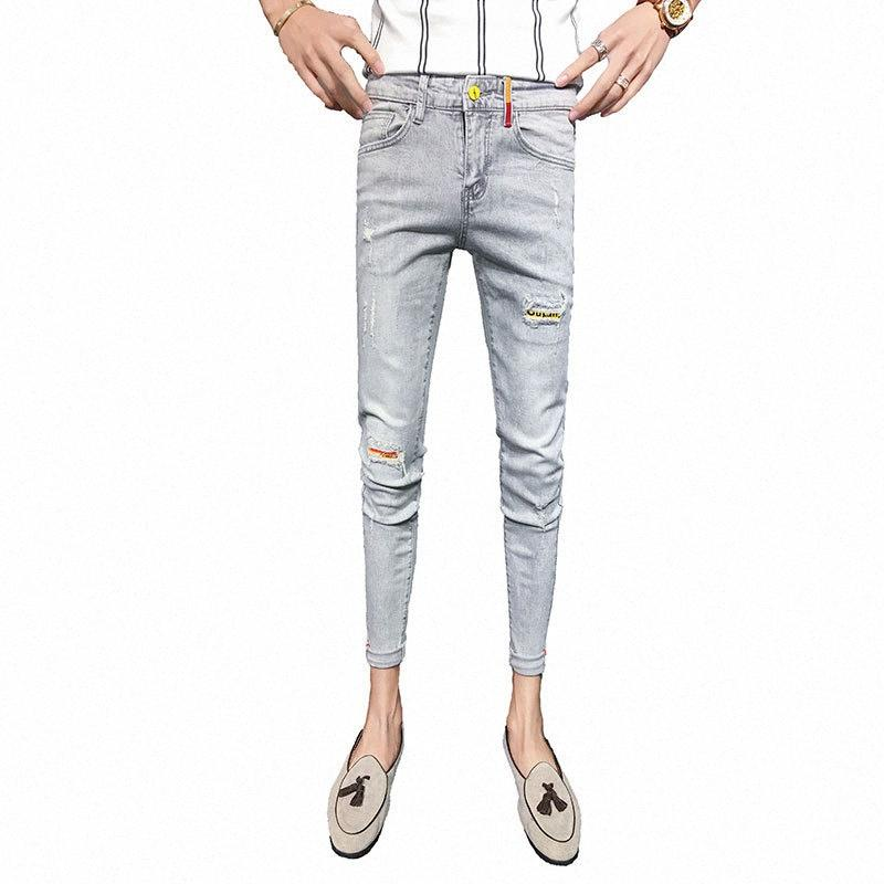 Venta al por mayor espíritu persona 2020 Moda Denim Social individuo hermoso rasgados agujero vaqueros flacos hombres pantalones pies pantalones de dril de algodón delgado hombres ua0C #
