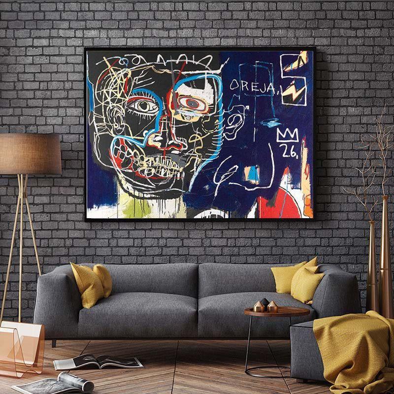 Pinturas Basquiat Abstract Canvas Pintura Street Graffiti Arte de la pared Pósteres E Lover Hands Imágenes para la decoración de la sala de estar