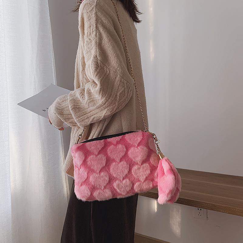 Borse di moda in peluche per le donne Mini Borsa Borsa a tracolla Inverno Spalla Story Stampa Leopard Borsa Messenger Catena di Messenger Cool Femmina Kqsco