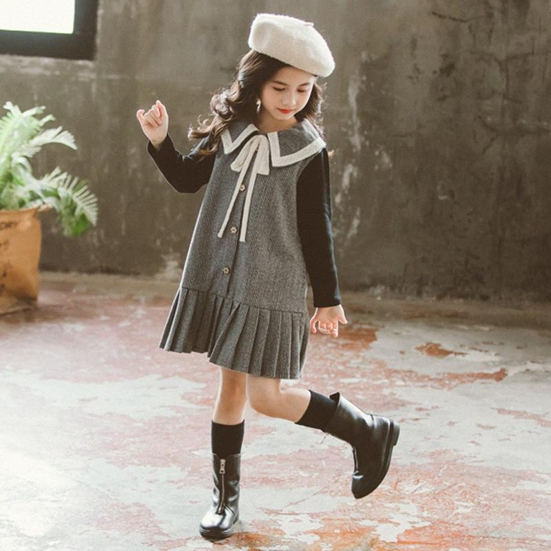 2020 2020 Autumn Doll Collar Girls Dresses New Pleated Princess Dresses For Girls Fashion Patchwork Loose Baby Dresses, #8217 1tBE#
