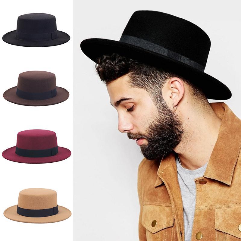 Płaski Top Hat Damskie Męskie Film Wide Brim Fedora Hat Lady Prok Prok Pie Chapeu De Feltro Bowler Gazardzista Top Hat 201028