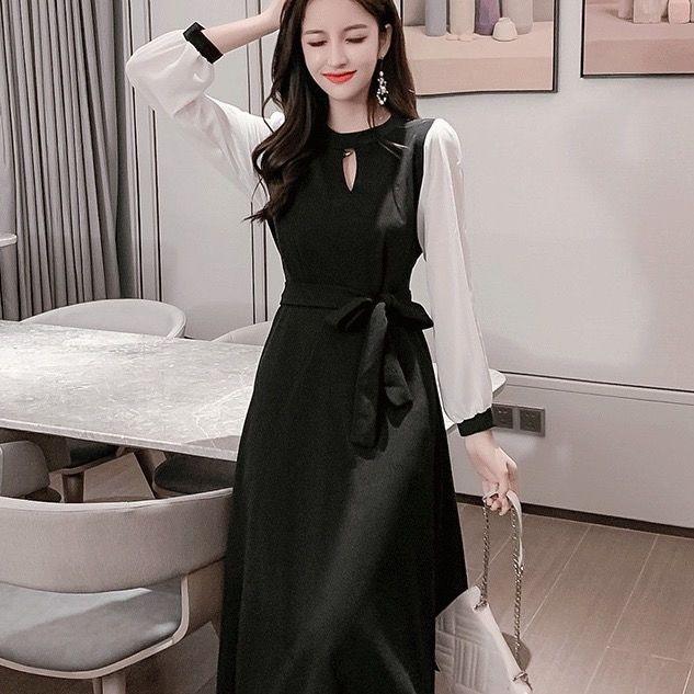 2020 outono e primavera nova Hepburn estilo meados longo temperamento vestido da forma moda francesa cintura vestido vestido IwUlF