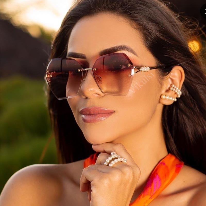 Lady élégante Lunettes de soleil irrégulières sans chasse à lunettes de lunettes de lunettes de lunettes de lunette métallique Perle de lunettes de soleil gradient de soleil pour femmes nuances UV40 FKTUA