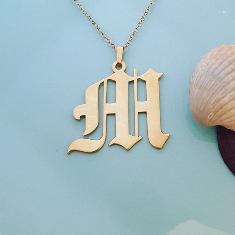 Personalizado velho inglês iniciais colar personalizado letra colares pingentes para mulheres feitos sob encomenda Colar de ouro colar mulheres jóias1