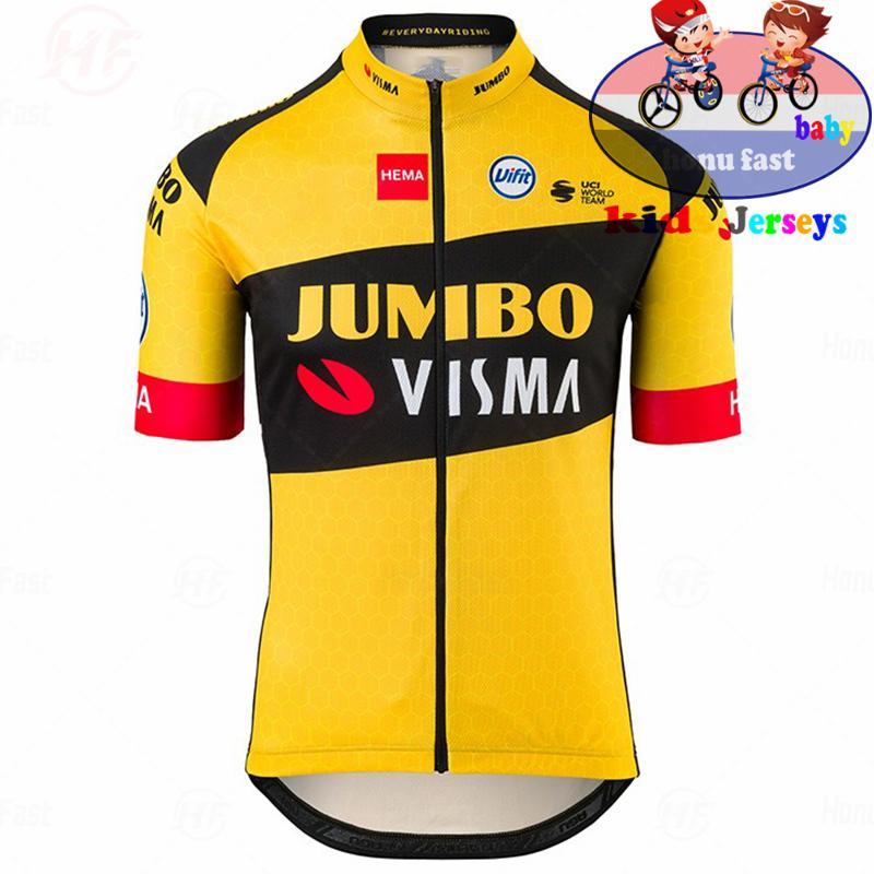 Jumbo Visma Nefes Çocuklar Bisiklet Jersey Seti Erkek Kız Yaz Bisiklet Raphaful Şort Floresan Pembe Çocuk Bisiklet Giyim C0123