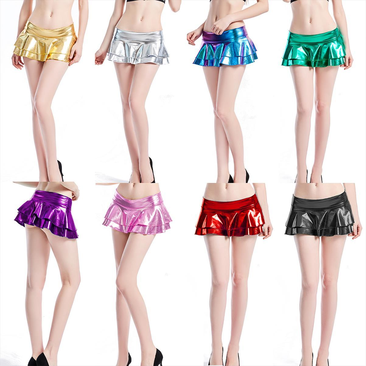10 Colors Candy Color Women Sexy Pu Skirts Suit Pole Dance Clubwear Patent Leather Micro Mini Set