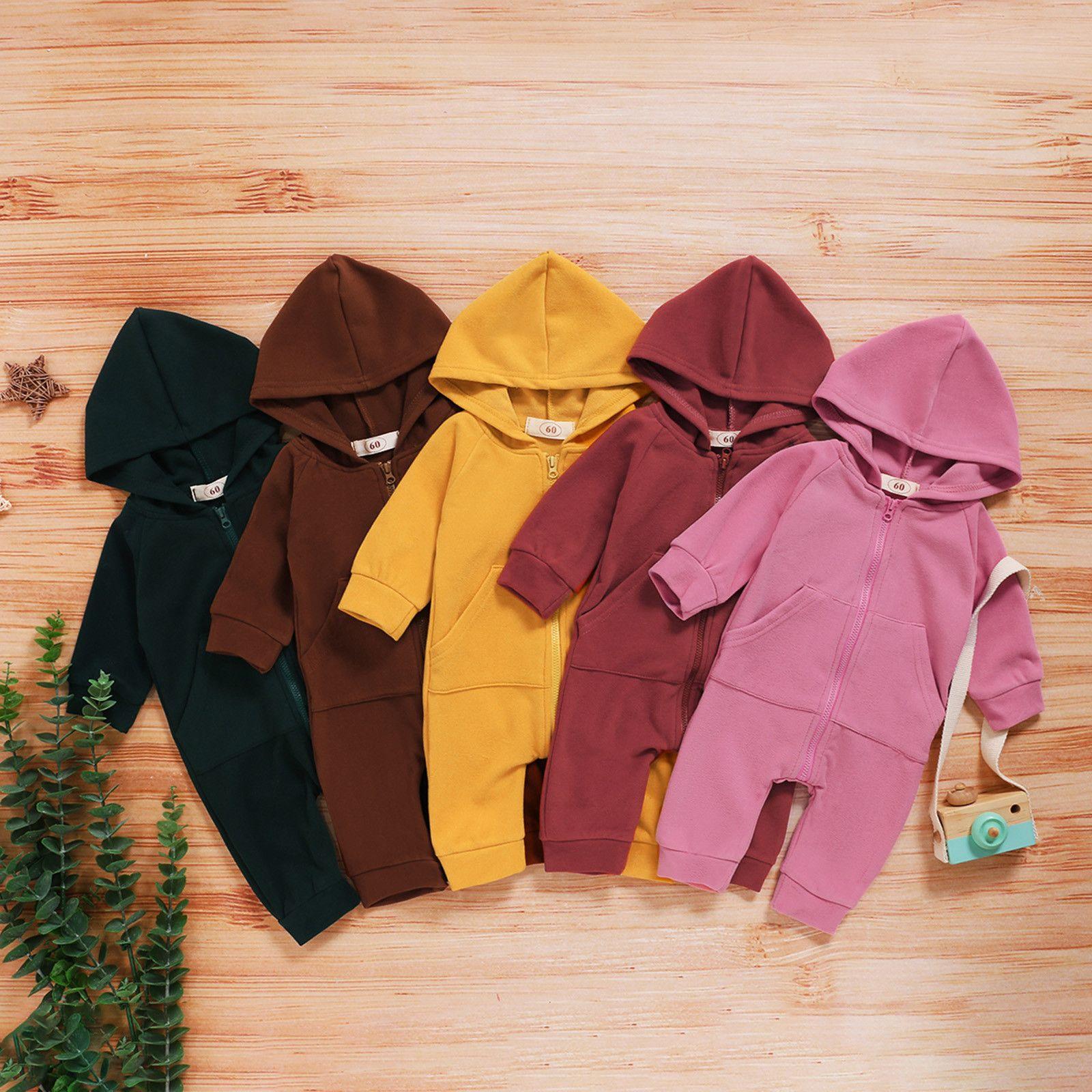 Новорожденных мальчиков девочки костюм малышей Мальчики Девочки с длинным рукавом Толстовка Solid Romper младенец комбинезона детей»Одежда для нарядах набор 1021