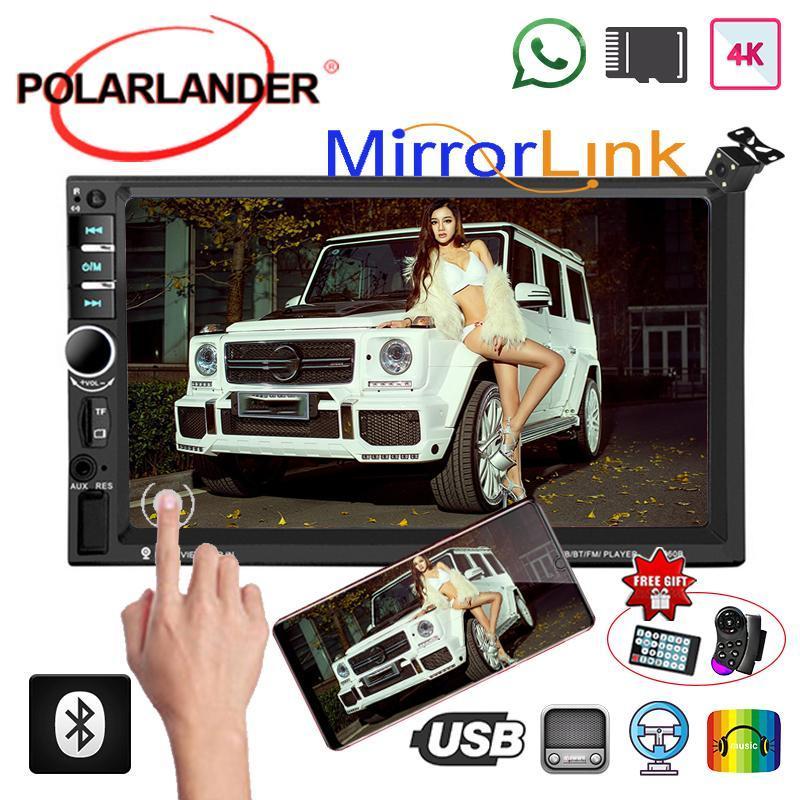 7 بوصة شاشة تعمل باللمس راديو صوت سيارة ستيريو العرض الرقمية مرآة الكاميرا لينك الخلفية الوسائط المتعددة HD لاعب MP5 بلوتوث 2 الدين