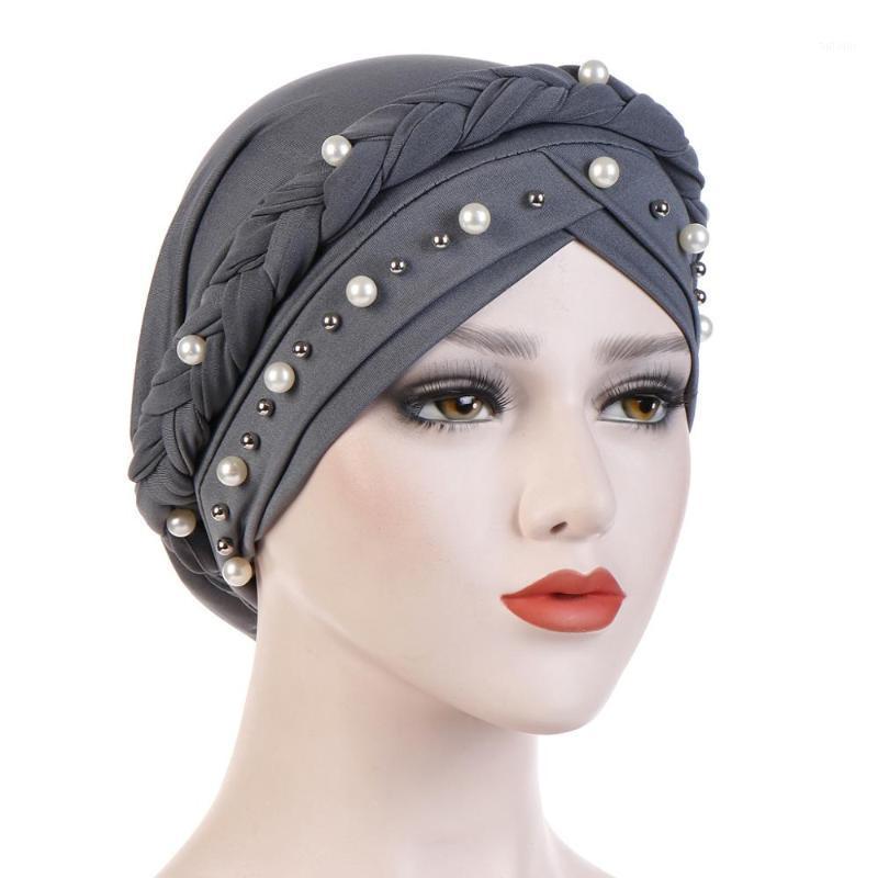Женщины Бисероплетение Индия Шляпа Мусульманский рюкзал Hijabs 2020 Femme Cheance Chemo Beanie Beanie Tabban Wrap Cap Женщины Голова Обложка Волос Шляпы1