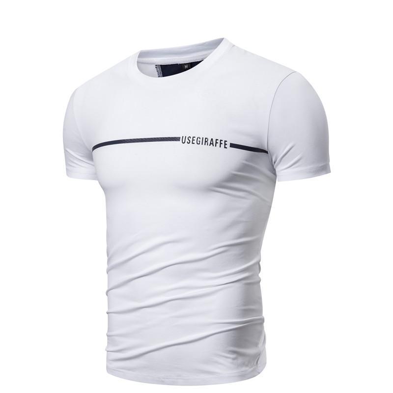 2020 neue Sommer-Giraffe Marke Hip Hop Street T-Shirt Männer beiläufiger O-Ansatz Kurzschluss-Hülsen-Männer-T-Shirts Patchwork-Baumwollhemd Männer