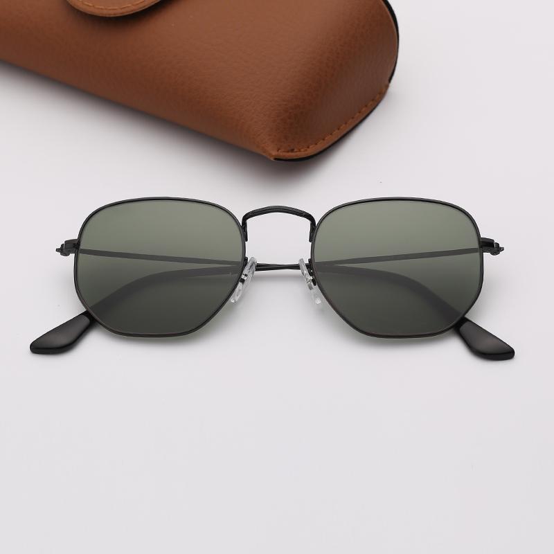 Case Womens Lunettes de soleil Miroir brun avec Violet Sun Verre Eyeware Lentilles Hexagonal Hommes Sans Lentilles LVJTM