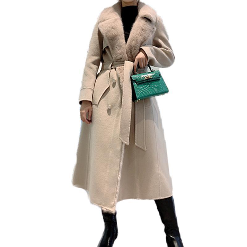 Furma damska Faux Female Real Sheep Wełniana Płaszcz Kobiety Zimowa Długa Kurtka Z Kołnierz Szczupła Pasek Luksusowy Cashmere Woolen Znosić