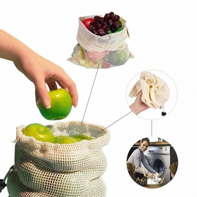 OCARDIAN saco de armazenamento 6 / 9PCS reutilizável Multifunction malha sacos de armazenamento Natural Durable Cotton Closet Organizadores novo navio da gota 2020 TuKR #
