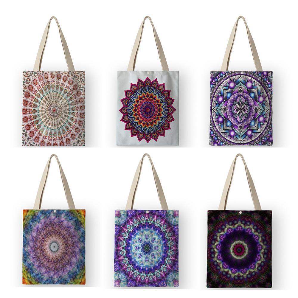 Bolso de compras reutilizable Eco Women Bolso Bohemio estilo Mandala Floral Imprimir Casual lienzo Tote Satchel School Books Bolsas AKB01011