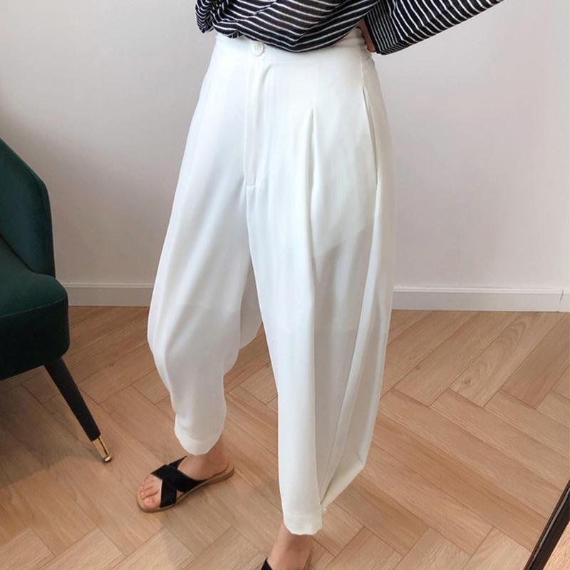 Allentato allentamenti Mutandine gamba larga Solid Pantaloni Harem Donne Bianco vita alta per l'ufficio casuale coreano Street Fashion