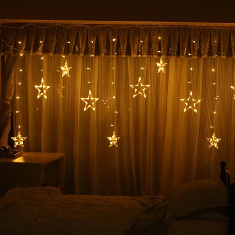 Pentagram LED Curtain String Lights Window Curtain Lights 8 Flashing Modes Decoration for Christmas Wedding Party Home Patio Lawn CCE4017