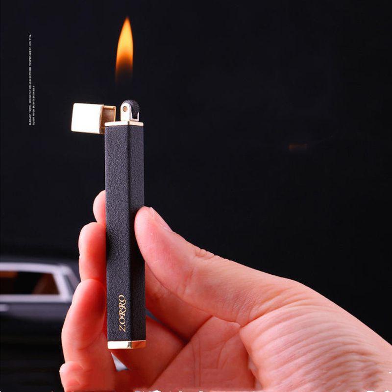 Nouveau Zorro Ultra Thin Thin Metal Gaz Torche coupe-vent Compact Compact Fire Fire Fire Butane Cigare Cigare Briquet Briquet Hommes Gadgets