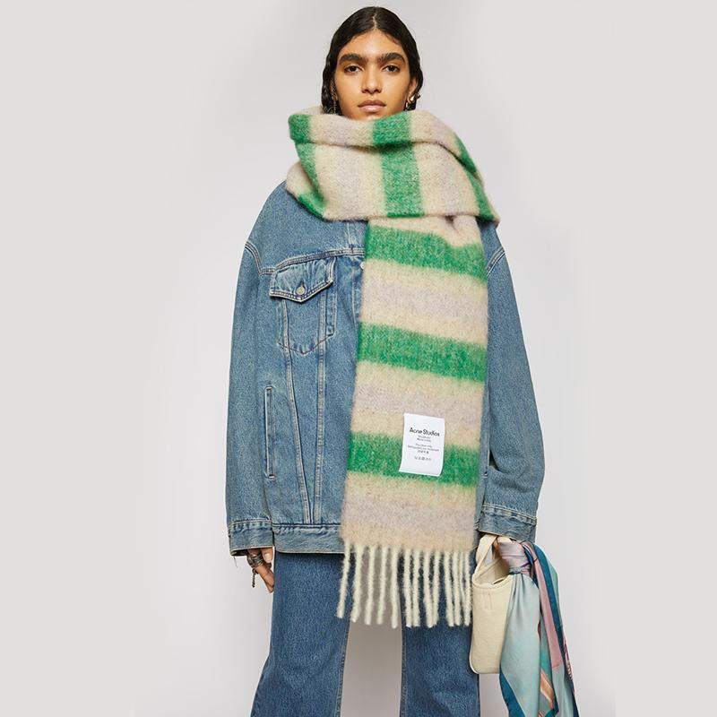 2020 NEW ACNE Mode Schal Frauen Soild Punkt-Drucken-Taste weiche Verpackungs-beiläufige warmer Schal