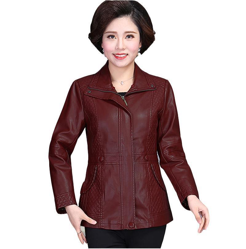 Women's Plus Size PU Leather Square Collar Jacket Fashion Medium Long Loose Zip Long Sleeve Women's Jackets overcoat