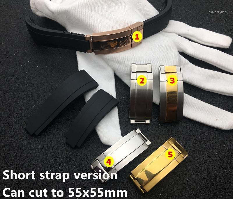 Siyah Kısa 20mm Silikon Kauçuk Saat Band İzle Band rol Strap GMT Oysterflex Bilezik Ücretsiz Araç1
