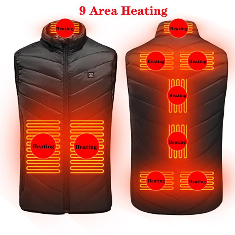 New 9 Places Men Women Usb Heated Thermal Clothing Hunting Vest Winter Heating Jacket BlackS-6XL