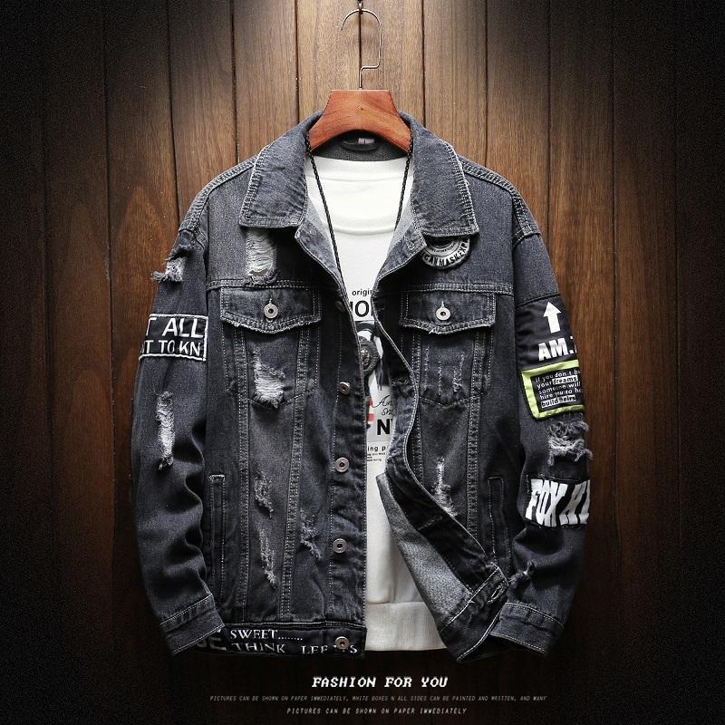 Herren Denim Jacken Herren Mode Lässige Lose Trend Motobiker Patch Druckloch Denim Mäntel Hohe Qualität Baumwolle Cowboyjacken