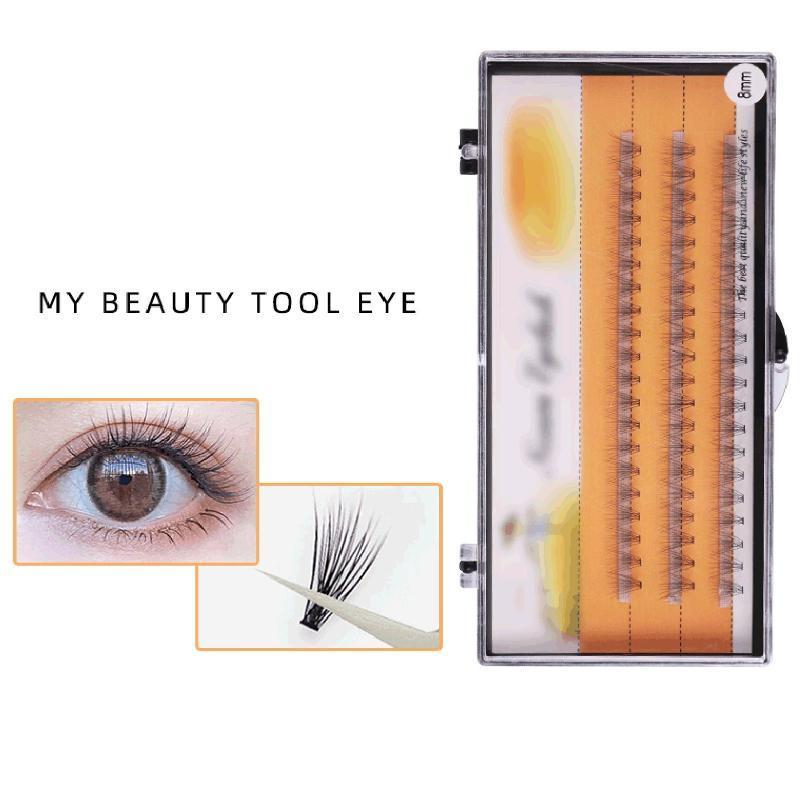 Frauen natürliche lange dicke Faux Faser Wimpern Falsche Schlagverlängerung Eye Makeup Individuelle Cluster Wimpern Pfropfen Gefälschte Wimpern